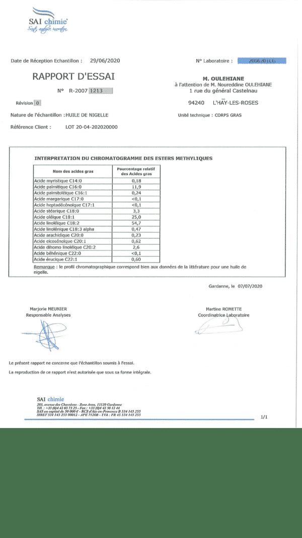 certificat huile de nigelle semi filtré